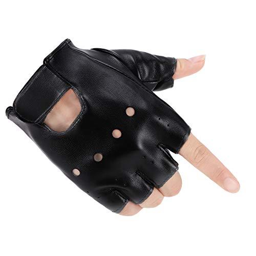 Accmor Kids PU Leather Fingerless Gloves, Kids Sports Gloves, Kids Cycling Gloves, Gloves for 4-8 Years Old Kids, Boys, Girls
