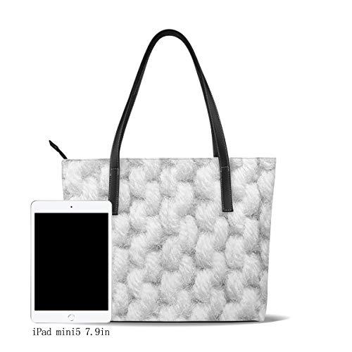 OMNVEQ Damen Handtasche Pu Leder Groß Shopper Handtasche Elegant Damen Tasche Schultertasche Tragetasche für Büro Schule Einkauf Basteln Stricken Strukturiert