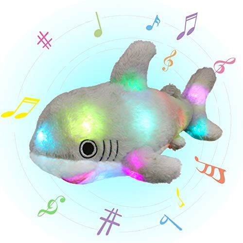 Glow Guards 16 Musical Light up Shark Stuffed Ocean Animals Pillow Plush Toy with LED Night Lights Lullabies Glow Singing Birthday for Toddler Kids, Gray