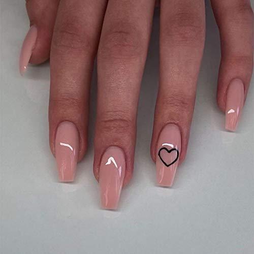 Unicra Künstliche Fingernägel in Sarg-Nude-Pink, mittlere Herzform, zum Aufkleben, glänzende Acryl-Kunstnägel, natürliche volle Abdeckung, drücken Sie auf Nägel, 24 Stück für Frauen und Mädchen