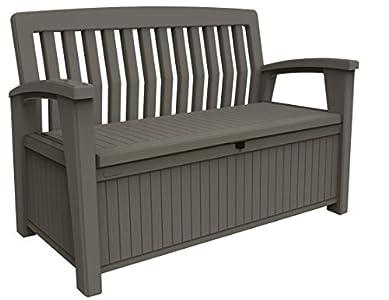 Keter Patio Bench - Banco Arcón Exterior, Capacidad 265 L, Color Topo