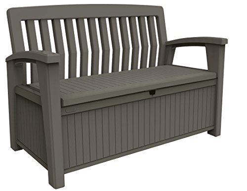 Keter Patio Bench - Banco Arcón Exterior, Capacidad 265 L, Color Topo