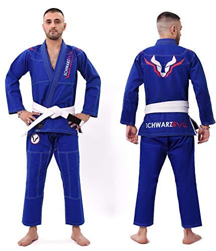 Schwarzbull Vitals,Brazilian jiu Jitsu(BJJ) Gi Kimono,100% algodón Tela con cinturón Blanco Gratis, (Azul, A3)