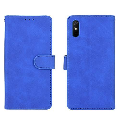 GOGME Leder Hülle für Xiaomi Redmi 9AT / Redmi 9A Hülle, Premium PU/TPU Leder Folio Hülle Schutzhülle Handyhülle, Flip Hülle Klapphülle Lederhülle mit Standfunktion und Kartensteckplätzen, Blau