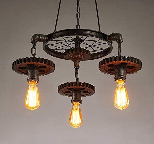 Retro kroonluchter Industrial Vintage verstelbare stijl licht, grote moderne houten wind Edison plafond kroonluchter lamp boerderhuisdecoratie E27 antiek voor keuken woonkamer, 3 stopcontacten