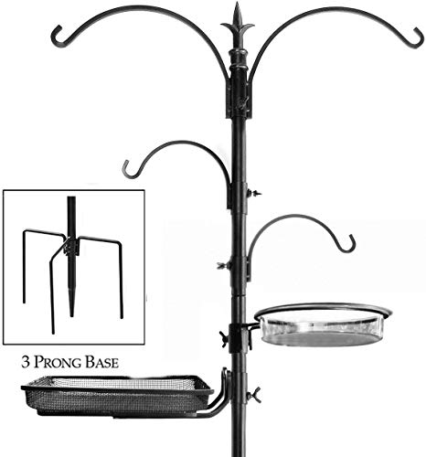 Ashman Premium Bird Feeding Station Kit, 22' Wide x 92' Tall (82' Above Ground Height), A Multi Feeder Hanging Kit and Bird Bath for Attracting Wild Birds