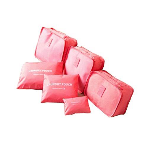 Aufbewahrungstasche 6Pcs Für Koffer Reise Kleidertaschen Wasserdicht Geschäft Trip Tour Stuff Taschen Tragbar Beutelbehälter Verpackungsorganisator Buggy Tasche Aufgeräumte Aufbewahrungskiste (Rot)