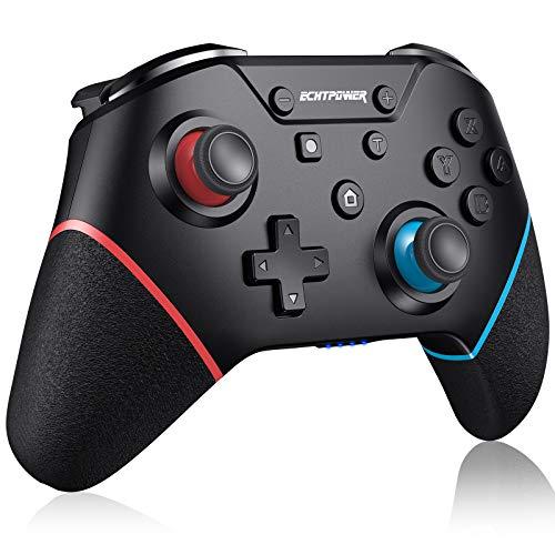 ECHTPower Mando para Nintendo Switch y Lite, Controlador de Bluetooth con Turbo, 6-Axis Giroscopio, Vibración Ajustable, 500mAh Batería, con Botón de Sincronización, 4 Botones Traseros Programables