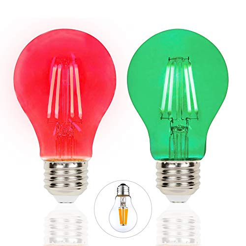 2 Pack Filament LED Red Light Bulbs Green Light Bulb – A19 E26 8W 60 Watt Equivalent Vintage LED Red Bulb LED Green Bulb Decorative Lighting for Party Decoration, Porch, Home, Christmas Light Bulbs