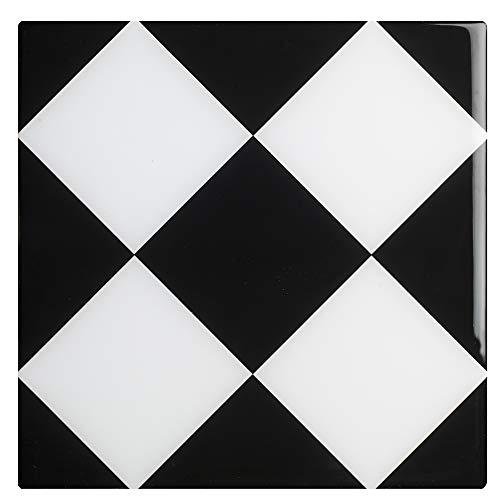 269526 Agliana tegel decoratie lijm koepel [4 tegels], zwart en wit, 15 x 15 cm