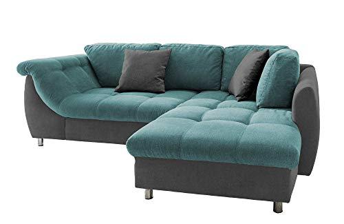 lifestyle4living Ecksofa mit Schlaffunktion in Petrol/Anthrazit-Grau mit großen Rücken-Kissen, Microfaser-Stoff | Gemütliches L-Sofa mit Longchair im modernen Look