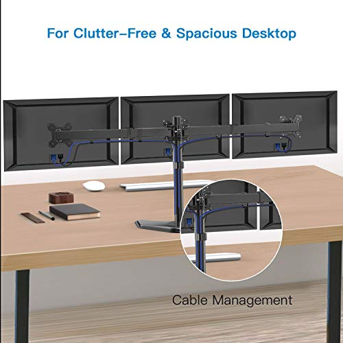 HUANUO Triple Monitor Stand - Free Standing Fully Adjustable Monitor Desk Mount - Tilts, Swivels, Rotates - Fits 3 LCD LED OLED Screens 13-24 Inches in Size, Each Arm Holds up to 22lbs