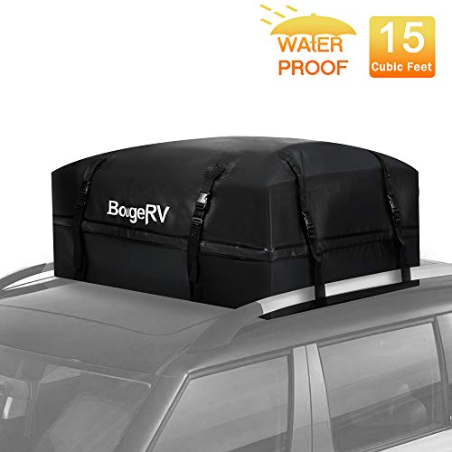 "BougeRV Rooftop Cargo Carrier Bag Waterproof 15 Cubic Feet Car Roof Bag Cargo Carrier Travel Storage Luggage Bag Box Soft-Shell for Cars with Rack Jeep Car Truck SUV Van (38""x38""x18"")…"