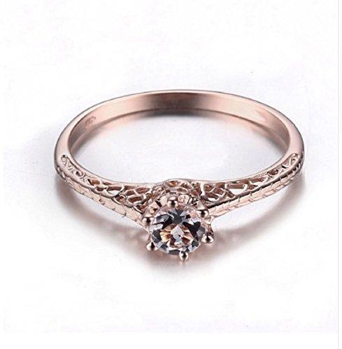 Gowe Art Deco Antik Jewelry Damen-Ring massives 14K Rose Gold Morganit Rund Filigran New Vintage Kombi Hochzeit Ring