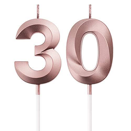 Candele di Compleanno 30 ° Torta Numero Candele Decorazione di Topper Torta Buon Compleanno per Festa Nozze Compleanno Anniversario Celebrazione Forniture (Oro Rosa)