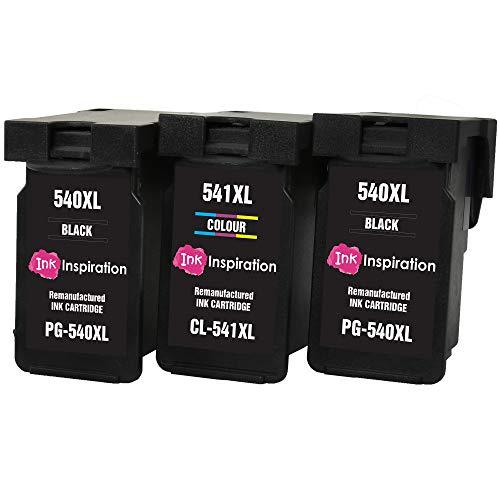INK INSPIRATION® 3 Premium Druckerpatronen kompatibel für Canon PG-540XL CL-541XL Pixma MG4250 MG3550 MG3250 MG3150 MX395 MX535 MG4150 MG3650 MG2250 MG2150 MX525 MX475 MX455 MX435 MX375