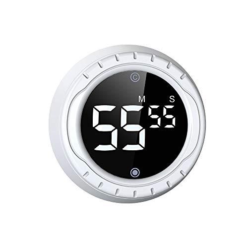 BALDR Digitaler Timer mit Magnethalterung, Eieruhr LCD-Bildschirm, Magnetisch Kuchenuhr Kuchentimer mit Lauter Piepser, Drehen Kurzzeitmesser zum Kochen, Backen, Sport usw (Weiß)