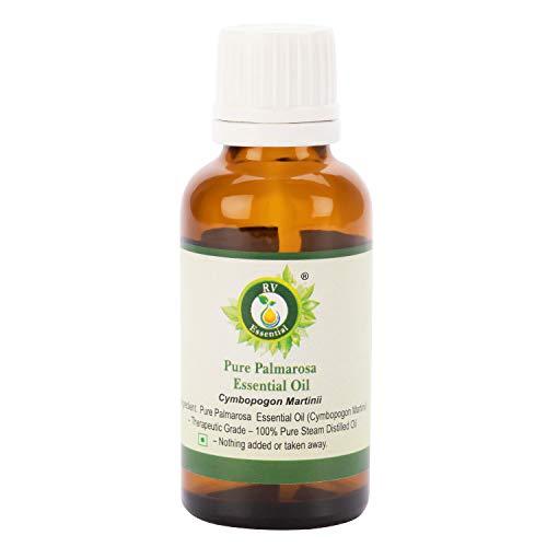Aceite esencial Palmarosa   Cymbopogon Martinii   Aceite de Palmarosa   para el cuidado de la piel   100% natural puro   destilado a vapor   grado terapéutico por R V Essential