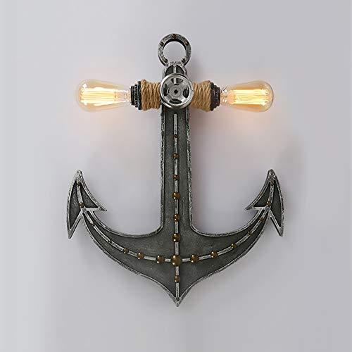 XFSE Lámpara de pared de anclaje dormitorio salón lámpara de pared estilo industrial retro doble cabeza creativa personalidad hierro decoración lámpara