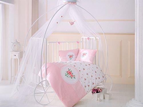Rosen Rose Fleurs Lit pour bébé Housse de couette, 100% coton doux et Sain Parure de lit 4 pièces