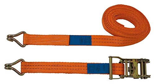 Petex 43192835 Ratschenspanngurt 2-teilig, 6 m, 35 mm, 1000/2000 daN, Doppelspitzhaken, orange
