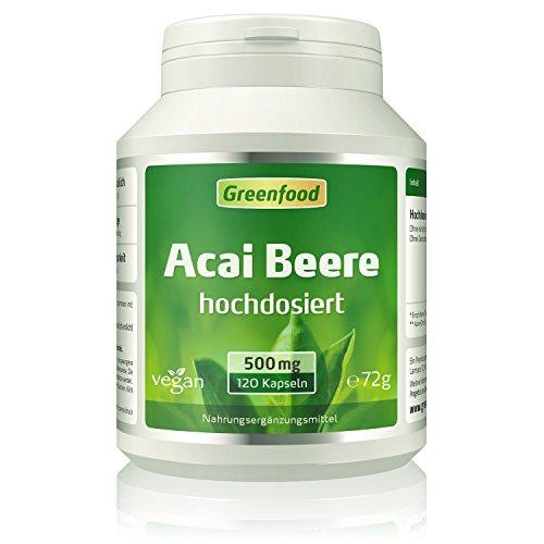 Greenfood Acai Beere, 500 mg, hochdosierter Extrakt (30:1), 120 Kapseln – Zellschutz-Power aus dem Regenwald. OHNE künstliche Zusätze. Ohne Gentechnik. Vegan.
