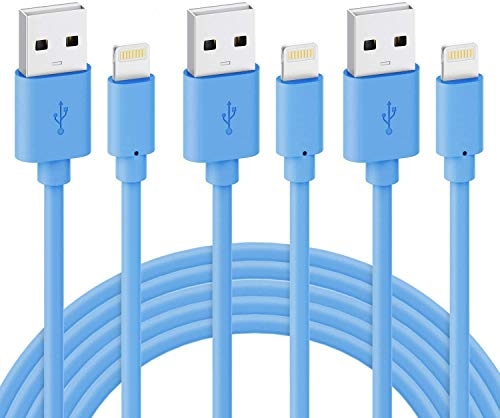 iPhone Charger Cord - Novtech 3Pack 10FT MFi Certified Lightning Cable - Fast Charging Charger Cable Compatible with iPhone 11 Pro XR Xs Max X 8 8 Plus 7 7 Plus 6s 6s Plus 6 6 Plus SE iPad - Blue