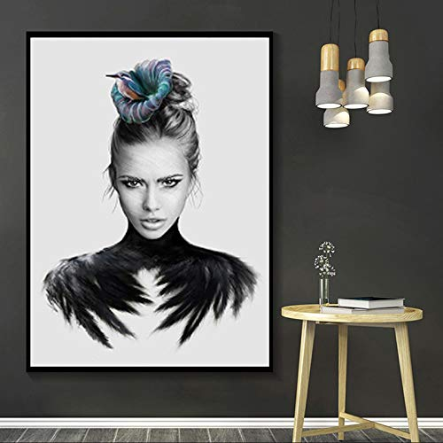Gymqian Pintura en Lienzo, Retrato artístico en Blanco y Negro, póster, niña con alas de Animales, Cuadros de Pared para la Sala de Estar, decoración del hogar, 70x80cm, sin Marco