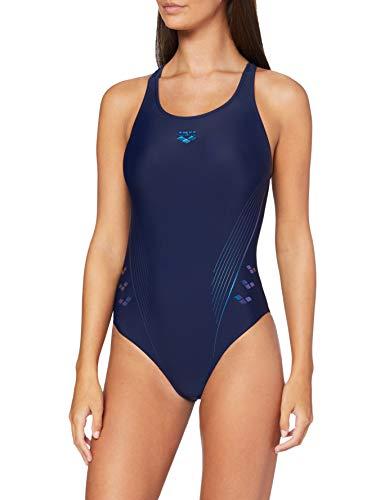 ARENA Damen Sport Badeanzug Chameleon, Navy-Neon Blue, 40
