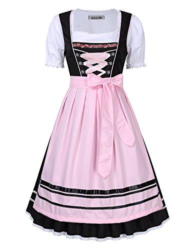 KOJOOIN/KUULEE Damen Dirndl 3tlg.Set - Mini Trachtenkleid für Oktoberfest - Originelles Design Stickerei Dots Karo und Blumendruck