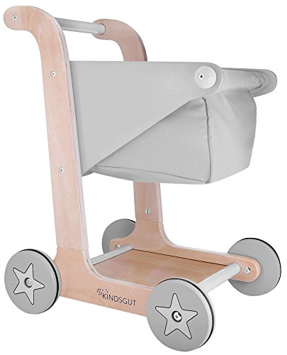 Kindsgut Carrello della Spesa, Giocattolo in Legno per Bambini (da 1 Anno), Accessori da Negozio, Carrello per Imparare a Camminare, Grigio