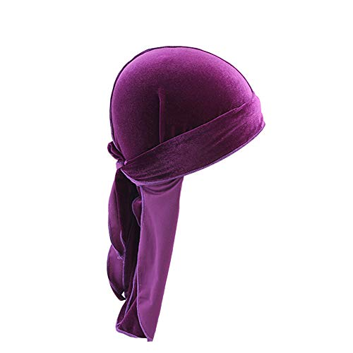 iSpchen Damen Herren Durag Piratenkappe Samt Long Tailed Turban Hut Chemo Cap Retro Kopftuch Unisex Stirnband Lila
