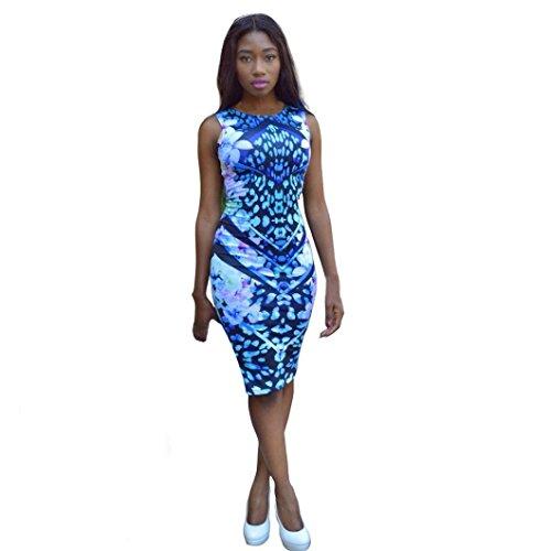 Elecenty Damen Sommerkleid Bandage Abendkleider Bodycon Partykleid Mädchen Kleider Frauen Rundhals Blumen Drucken Ärmellos Kleid Minikleid Kurz Kleidung (M, Blau)