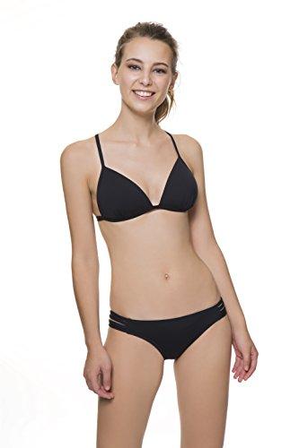 COCÖA Braguita de Bikini básica escotada con Tiras en los costados. Color Negro. Totalmente Forrada. Talla de S a la XL.