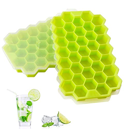 2 PCS Premium Ice Cube Trays, AUSSUA Silicone Ice Cube Molds with Sealed Lid, Flexible 74-Ice Trays BPA Free, for Chilled Drinks, Whiskey, Cocktail, Food, Reusable, Safe Hexagonal Ice Cube Molds
