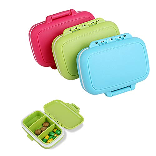 DXIA 3Pcs Pastillero Caja de Pastillas Organizador, Organizador de Pastillas, Organizador de Pastillas de Plástico Impermeable con 3 Compartimentos, Píldora de Vitaminas, Organizador de Pastillas