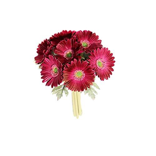LIOOBO 7 unidades de gerbera artificiales, estilo europeo, margaritas africanas, simulación de flores, decoración para el hogar y bodas, color rojo vino