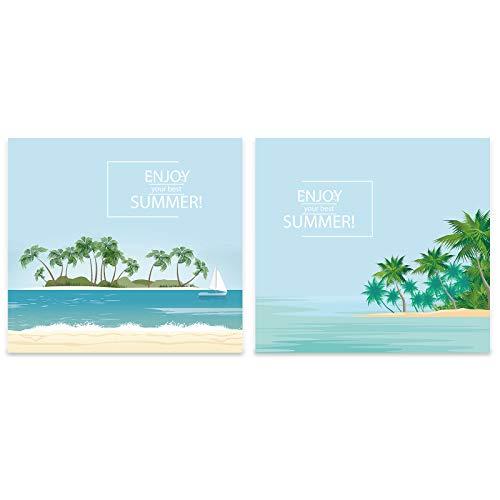 Arte de pared de playa tropical impresiones en lienzo arte natural decoración del hogar 2 piezas pinturas de paisajes marinos para la sala de estar, sin marco (50x70cm/20x28inches)
