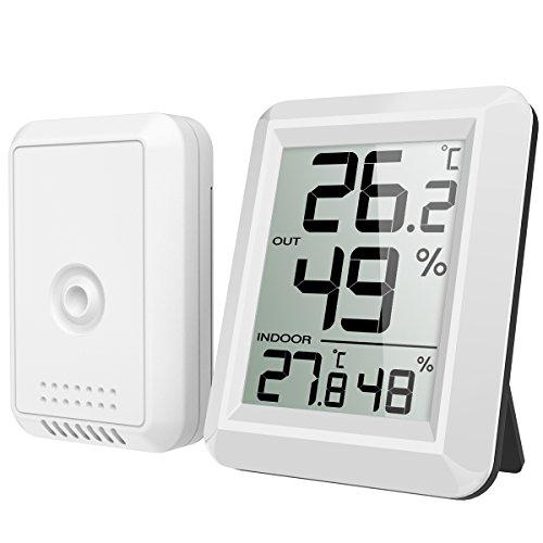 Brifit Thermometer Innen/Ausen, Hygrometer Thermometer mit Außensensor, Raumthermometer, Funk Thermometer mit Großem LCD Display, ℃/℉ Schalter, Ideal für Büro, Haus, Zimmer, Weiß