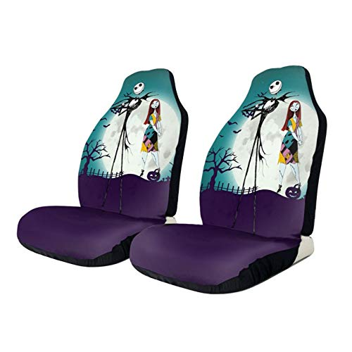 Kechun Universal Waterproof The Nightmare Before Christmas Fit Full Set Front Seat Covers for Women, Car Seat Protectors for Car, Vans, SUV Truck 2 Pcs (The Nightmare Before Christmas 1, 2 PCS)