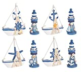 Wooden Lighthouse and Mini Sailboat Model Decoration, Set of 8 Different Wooden Decorative Sailboats & Light Houses,Handmade Nautical Lighthouse Decorations, Mini Sailing Boat Christmas Ornamen