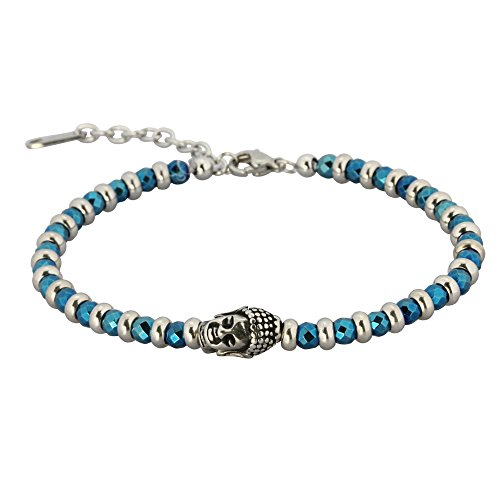 Hematite Bracelet Buddha Beaded Tibet Charm Bracelets Stone Ankle Wrist Hypoallergenic 316L Stainless Steel 295 Sterling Silver Turquoise Friendship Jewelry Yogis For Men and Women Easy to Wear Gifts