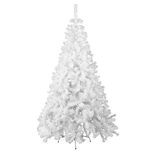 GOJOOASIS 150 cm ca. 500 Spitzen Weihnachtsbaum künstlicher Tannenbaum Christbaum Metallständer Schneller Aufbau mit Klappsystem Material PVC (Weiß, 150 cm)
