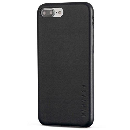 iPhone 7 Plus Lederhülle Schwarz - KANVASA Skin Leder Case Hülle Ledertasche Echtleder Cover für das Original Apple iPhone 7 Plus - Schutzhülle Ultra dünn