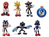 Sonic the Hedgehog Action Figures – 6 Pcs Collectible Figures with Sonic Brooch– Highly Detailed Design – For Kids and Collectors – Includes Sonic, Shadow, Werehog, Metal Sonic, Knuckles & Super Sonic