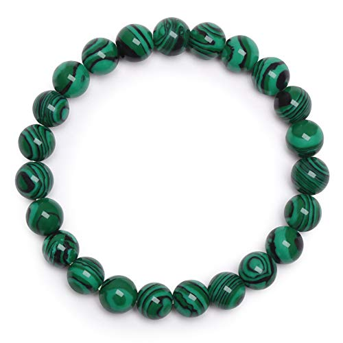 Bracelet Malachite Bracelet en Perles Bracelet en Pierre Naturelle Bracelet en Perles 8mm Bracelet Élastique Bracelet Femme Bracelet Extensible Semi Précieuse pour Fête des Mères