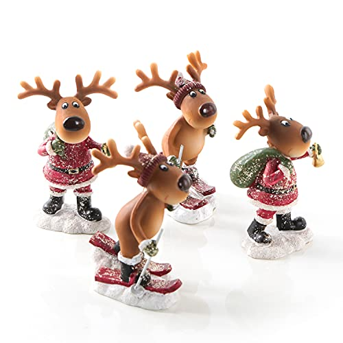 Logbuch-Verlag 4 kleine Elch Figuren 9,5 cm - winterliche Deko Rentierfiguren - Weihnachtsdeko Geschenk Kinder Kundengeschenk