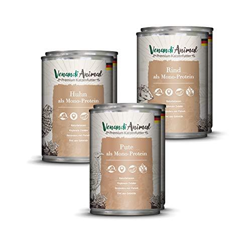 Venandi Animal Premium Nassfutter für Katzen, Probierpaket - Huhn, Ente, Rind- 6 x 400 g, 2.4 kg