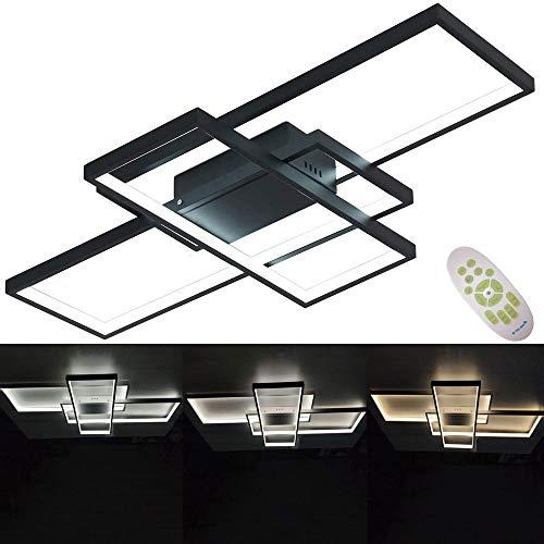 Plafón LED regulable con mando a distancia, lámpara de techo para salón, cocina, oficina, dormitorio, pasillo, baño, moderno, rectangular, 3 luces, pantalla de acrílico, 90 x 50 cm, color negro