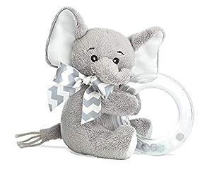 "Bearington Baby Lil' Spout Plush Stuffed Animal Gray Elephant Shaker Toy Ring Rattle, 5.5"""